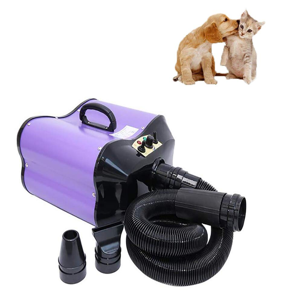 Dog Cat Hair Dryer Pet Grooming Blower with Heater, Adjustable Temperature Speed & Double Motors & 2 Nozzles (Purple)
