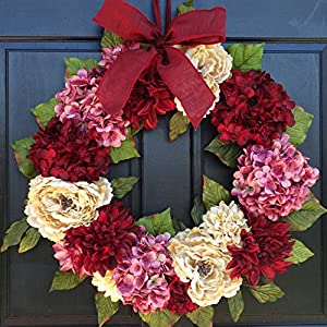 Large Spring Valentines Day Wreath for Front Door Decor; Faux Hydrangea, Dahlia and Peony Mix; Burgundy Red, Cream (Off-White) and Rose Pink; 24 Inch 33