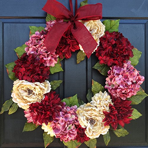 Large Spring Valentines Day Wreath for Front Door Decor; Faux Hydrangea, Dahlia and Peony Mix; Burgundy Red, Cream (Off-White) and Rose Pink; 24 Inch