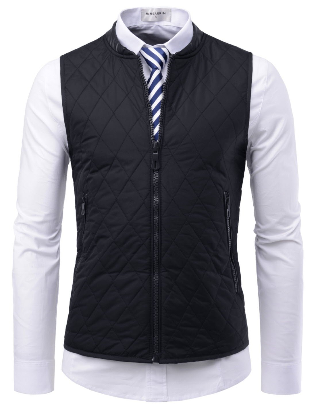 NEARKIN (NKNKPVE1) Mens Daily light warmer Quilting Zip-up Slim fit Waistcoat BLACK US XS(Tag size S)