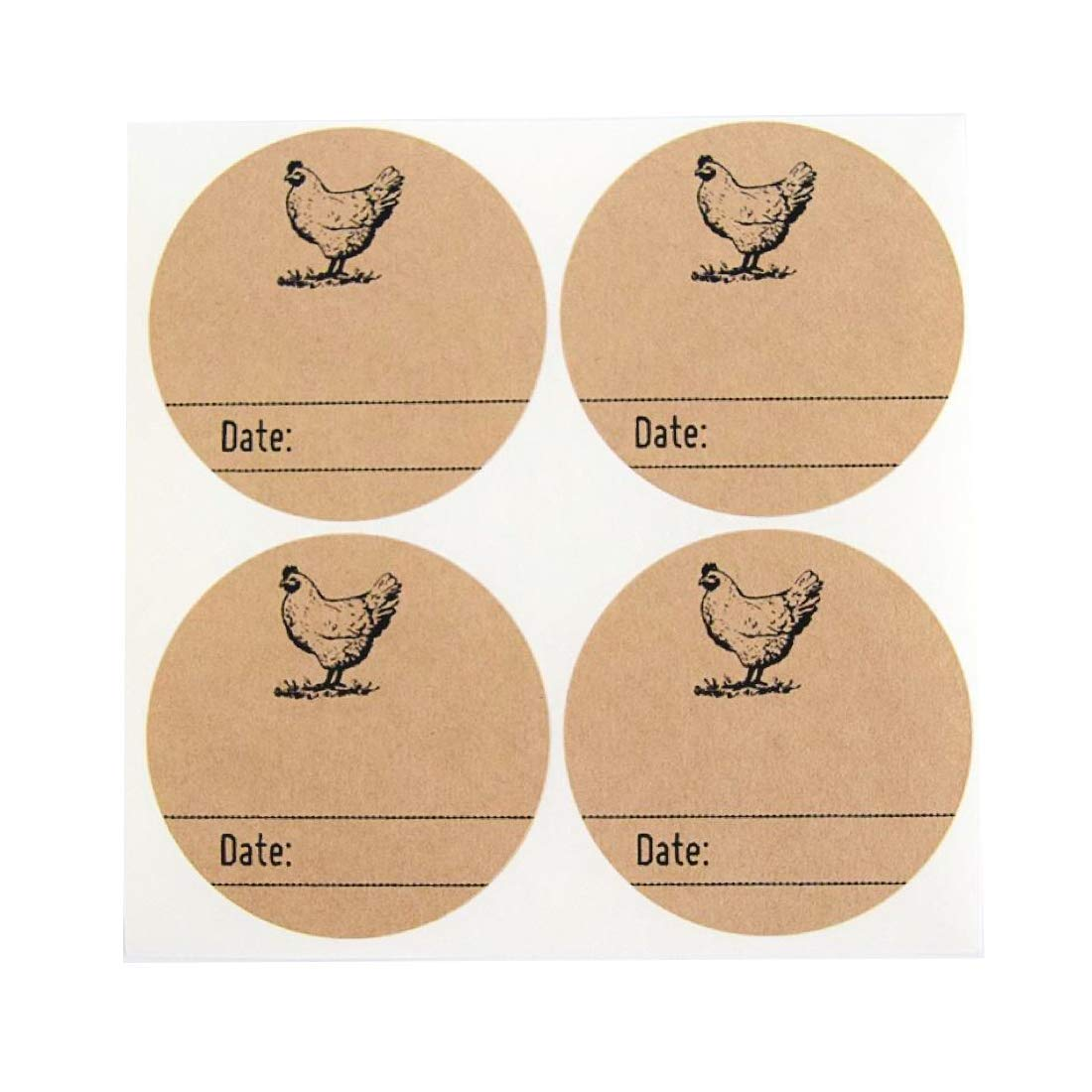 """Rustic Kraft Brown Kitchen Pantry Mason Jar Labels with Chicken Design by Once Upon Supplies, Homestead Canning Stickers, 2.5"""" Size for Wide Mouth Jars, 36 Pcs"""