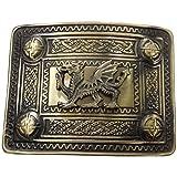 AAR Scottish Kilt Belt Buckle Celtic Studs with Wales Dragon Badge Antique Plated
