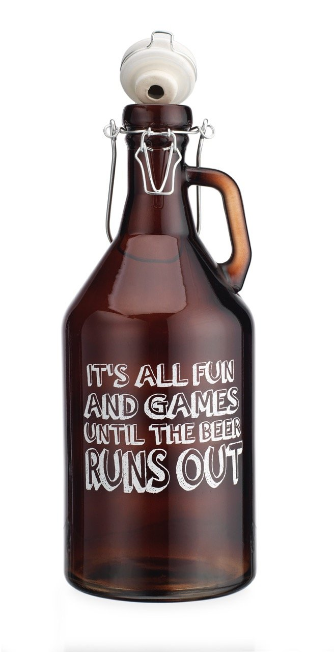 Original Glass Growler Its all Fun and Games Untill The Beer Runs Out 1/2 Gallon (64oz) with Hermetic Seal Ceramic Lid by TWI (Image #2)