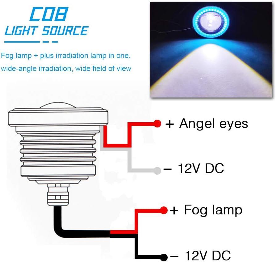 KaiDengZhe 2PCS 2.5 Proyector Universal LED Luz Antiniebla 12V 10W Amarillo COB Halo Ojo de /ángel Anillos para Moto Faros Delanteros Coche Luz Diurna DRL Luz Antiniebla Luz de Conducci/ón Bombilla