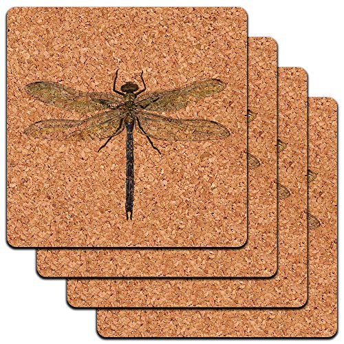 Dragonfly Low Profile Cork Coaster Set ()