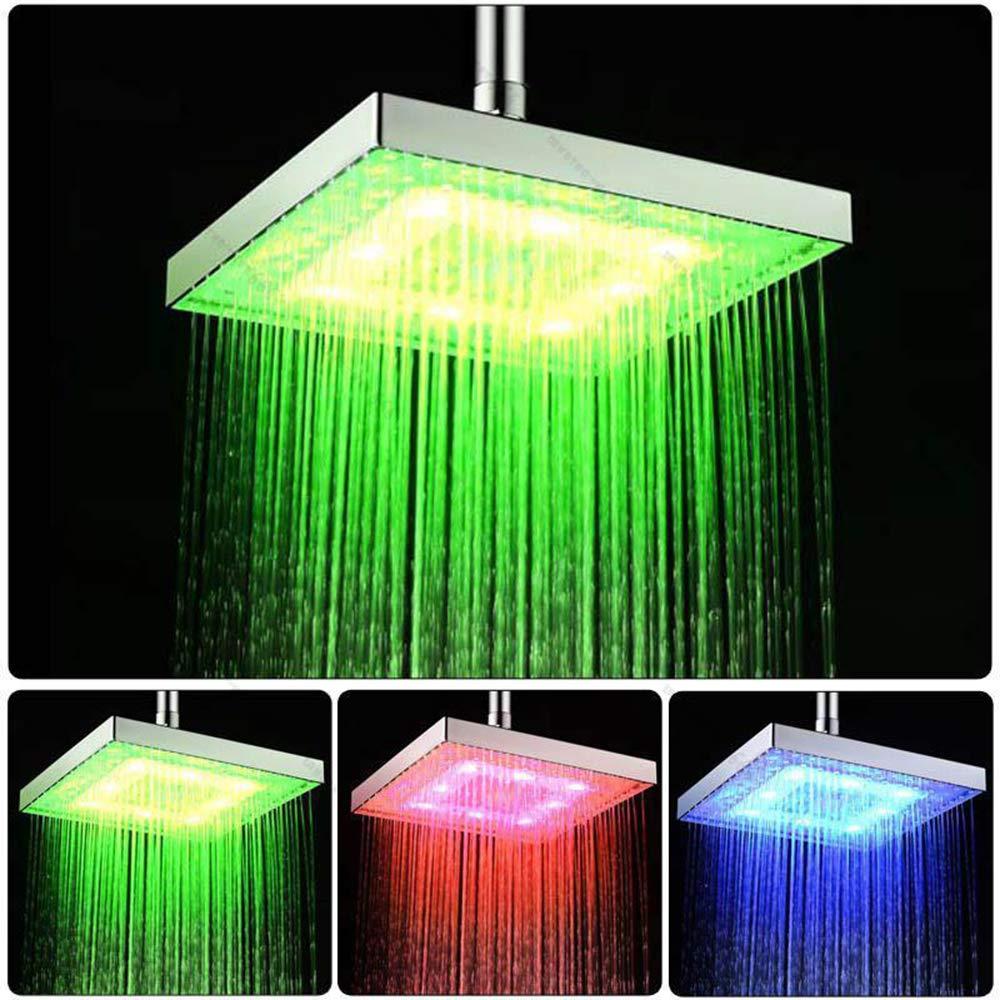 Qbisolo 20,3/cm quadrato 3//7/colori cambio automatico LED soffione doccia bagno doccia irrigatore