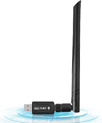 WiFi USB Adaptador, Antena WiFi USB Inalámbrico Dual Band 2.4G / 5.8G 802.11 AC WiFi Dongle con Antena de 5dBi Receptor Soporte Windows ...