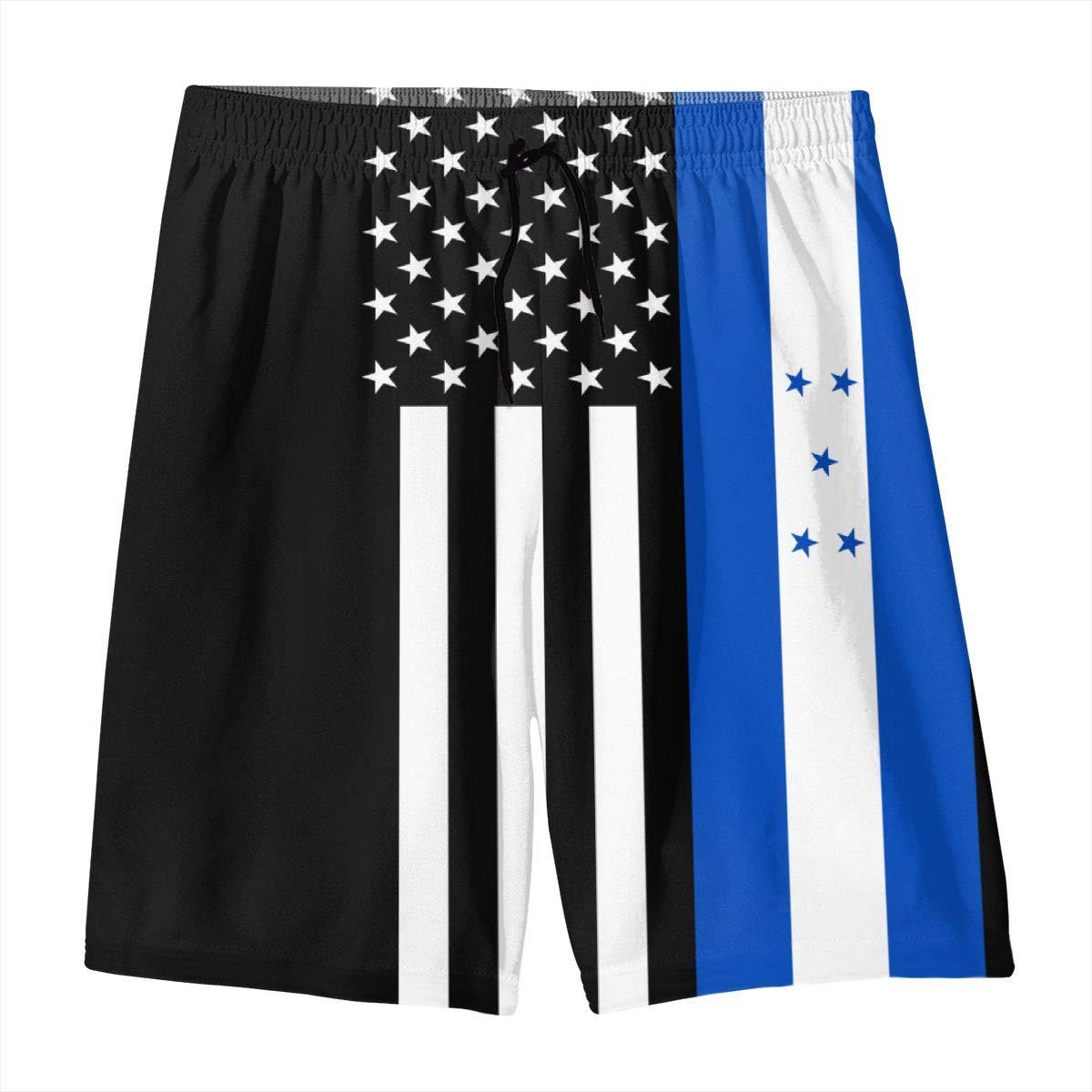 BLACK-DO Mens Summer USA Honduras Flag Quick Dry Volleyball Beach Shorts Swim Shorts Board Shorts