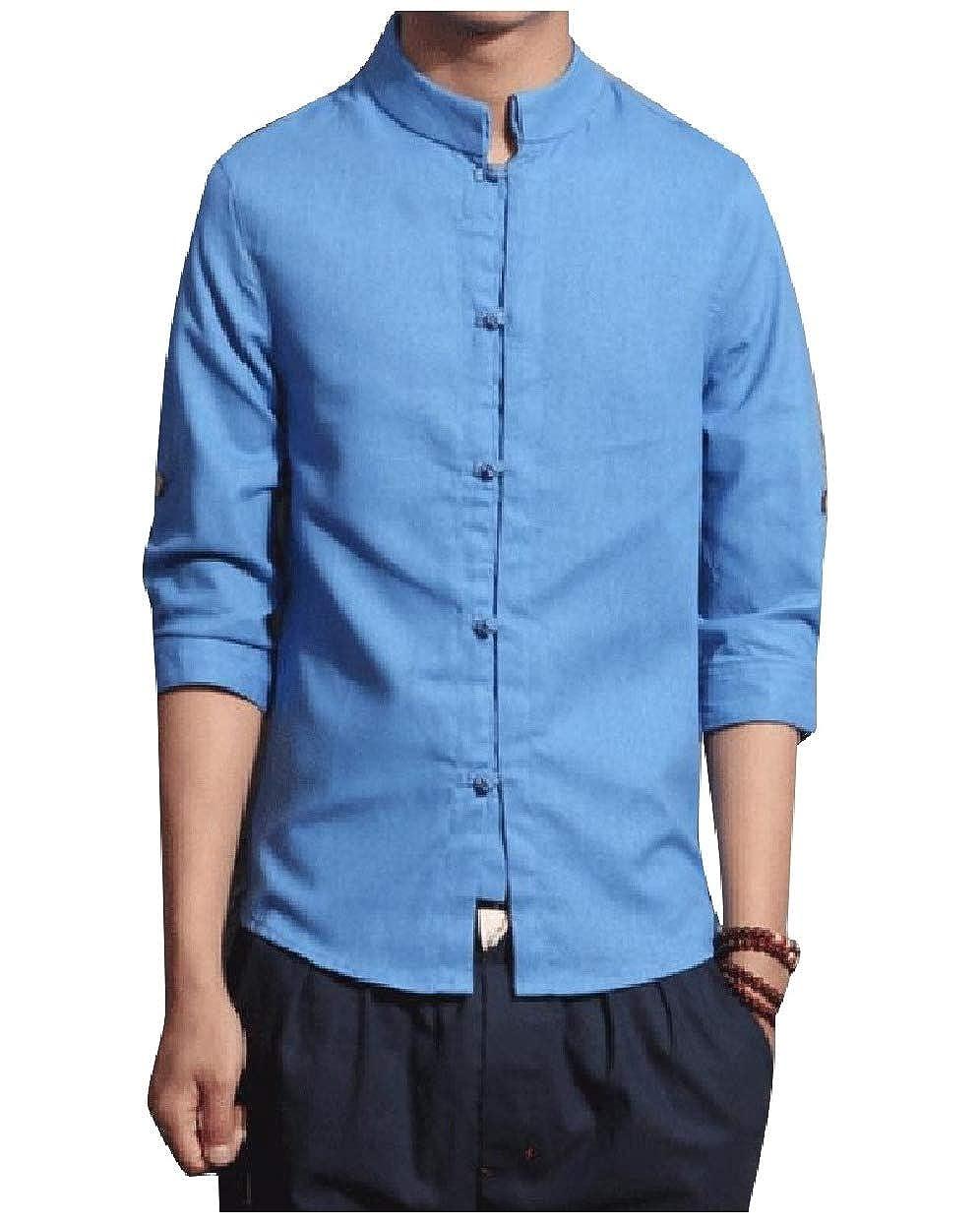 Sebaby Mens Stand Collar Cotton Linen Slimming Button-Front Shirt Tops