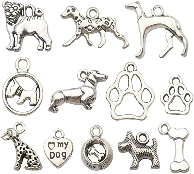 Z513 Dog Paw Bead Cage Antique Silver Tone 3D Locket Charm Fits 8mm Bead