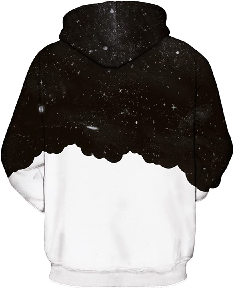 Imbry Active Pullover Sweatshirts Animal Galaxy 3D Print Hooded Jumpers for Men