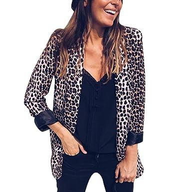 Amlaiworld Chaqueta con Estampado de Leopardo para Mujer ...
