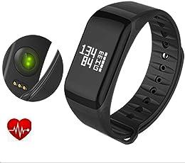 F1Smart Pulsera Reloj Heart Rate Monitor Smart Band Wireless fitness wctch Blood Pressure Reloj Inteligente para Android IOS Teléfono, Negro