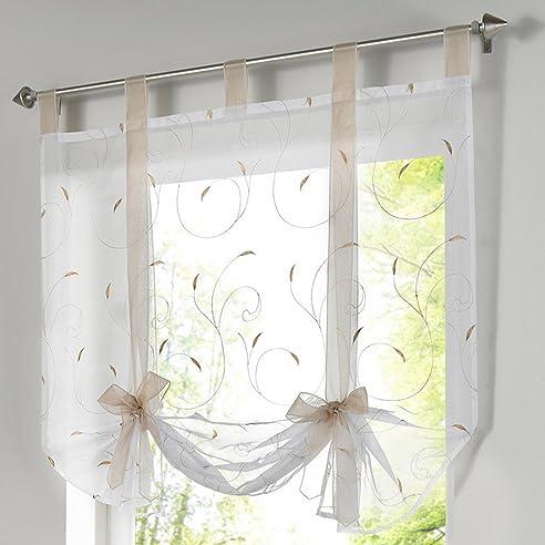 Amazonde Souarts Sandbraun Stickerei Blumen Transparent Gardine - Raffrollo fur wohnzimmer