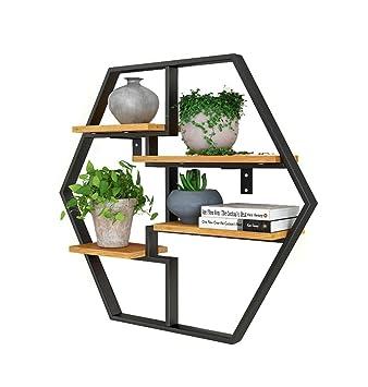 Lh étagère à Cadre Hexagone Etagère Murale Métal Noir Fer Bois Comme