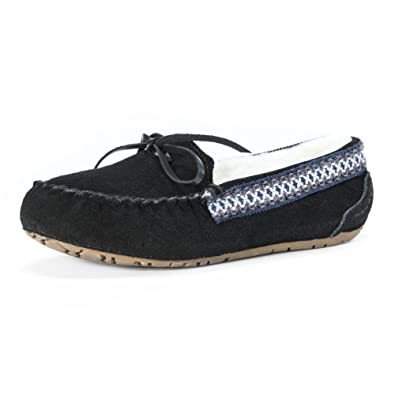 MUK LUKS Slippers Womens Jane Moccasin Lined TPR Sole 6 Black 0017365