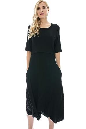 a35edc5a2c46f Bearsland Women's Maternity Nursing Dress 1/2 Sleeves Soft Breastfeeding  Dresses Pockets,Black,