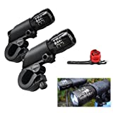 Happyjoy 600LM Bike light Waterproof Zoomable Front Lights and 5LED Taillight, Mountain Bike light set, 3 Light Modes, Quick-Release Bike Zoomable Head Lights + 5 LED Rear Light