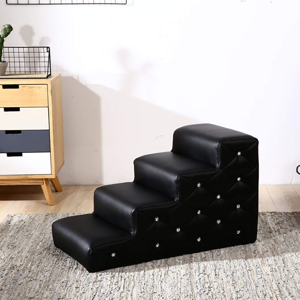 Black GLJJQMY Pet 4-Step Stairs Climbing Ladder Toy Pet Bite-Resistant Toy Cat and Dog Ladder Pet Stairs (color   Black)