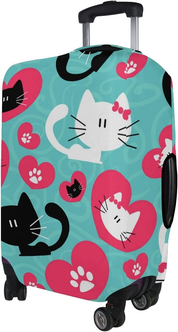 Fits 18-32 Inch LORVIES Couple Of Cats Print Travel Luggage Protective Covers Washable Spandex Baggage Suitcase Cover