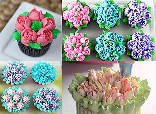 FireBee Russian Piping Tips Set 24 Pcs for Cake Decorating Supplies Kit with 12 Large Flower Icing Nozzles 10 Disposable Pastry Bags 2 Tri-Color Couplers by FireBee (Image #5)