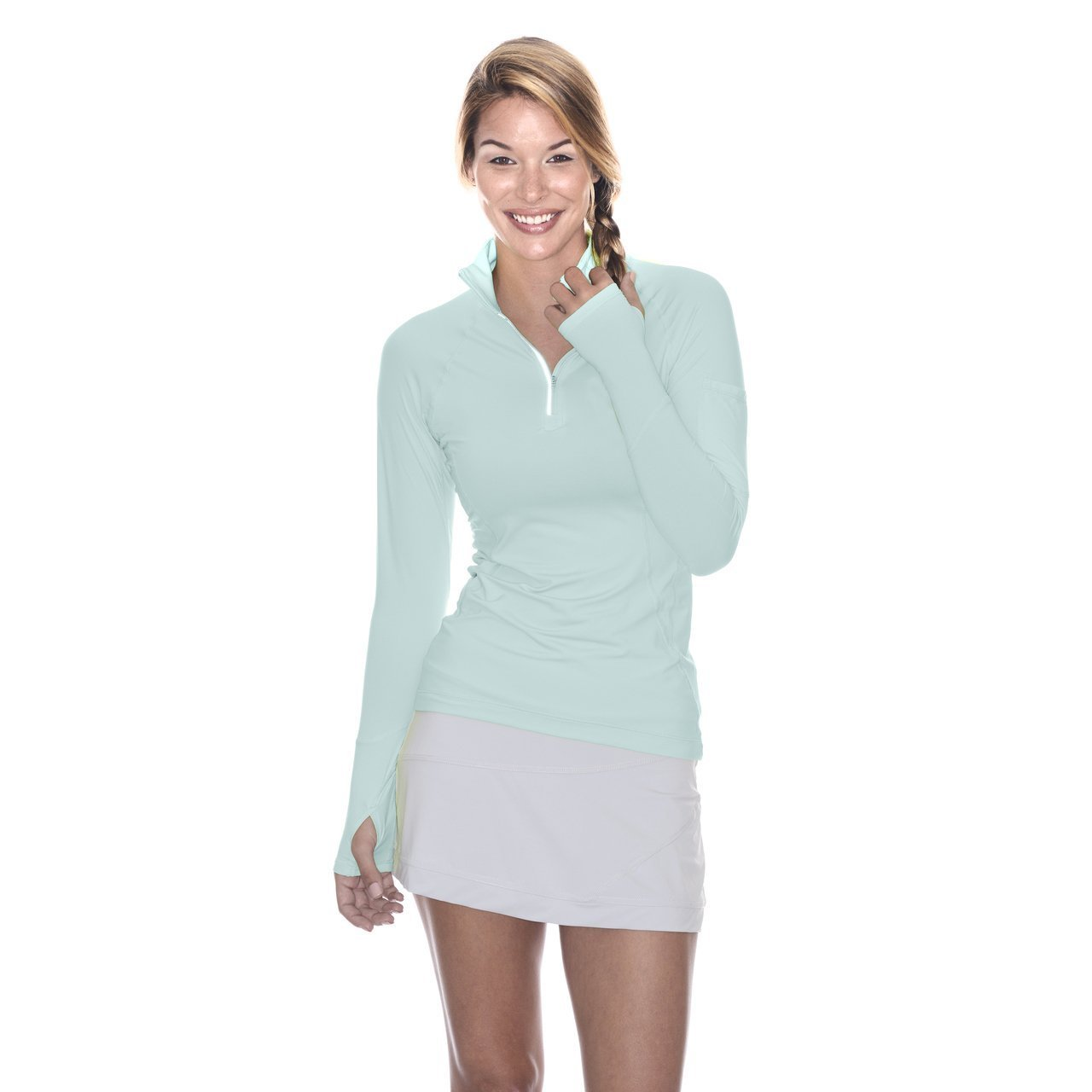 BloqUV Women's Mock Zip Top Mint Size X-Small by BloqUV (Image #1)