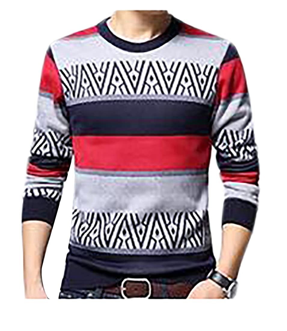 XQS Mens Winter Thick Round Neck Striped Pullover Knit Sweater
