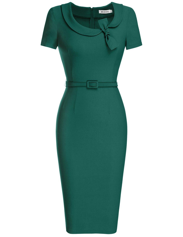 MUXXN Women's Audrey Hepburn Style Short Sleeve Belt Waist Cocktail Tea Dress (3XL, Dark Green)