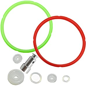Pressure Cooker Silicone Sealing Gasket Red & Green Rings and Float Valve Fit for Instant Pot 5 or 6 Quart Models Replacement Parts Set