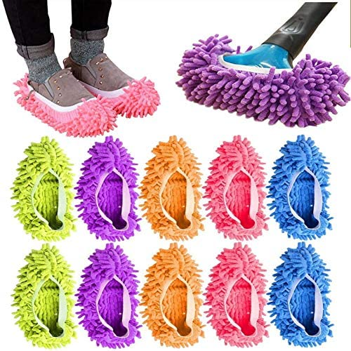 Tamicy Mop Slippers Shoes 5 Pairs Microfiber Cleaning House Mop Sl 10 Pieces