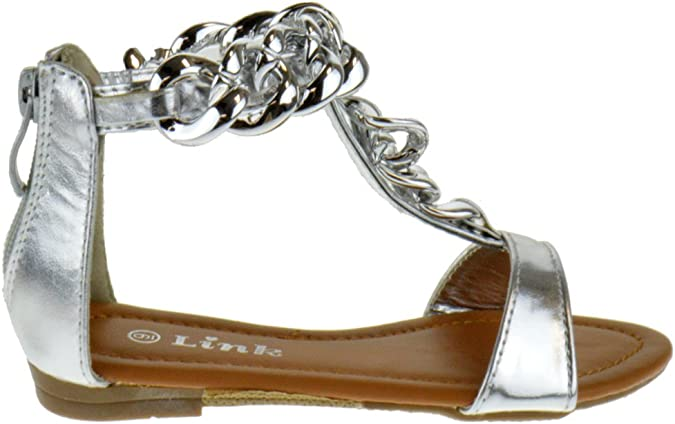 Link Girls Open Toe Chain Strap Flip Flop Sandals Toddler//Little Kid