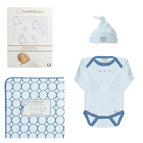 Amazon.com : 4 pieza recién nacido ropa de cama cuna Set, True Blue ...