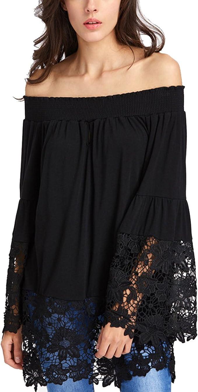 Womens Bandeau T Shirt Blouse Off Shoulder Crochet Summer Lace Bardot Top Tee