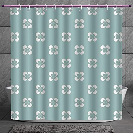 Cool Shower Curtain 20 Floral Pattern With Graphic White Pansy Flowers On Green Backdrop