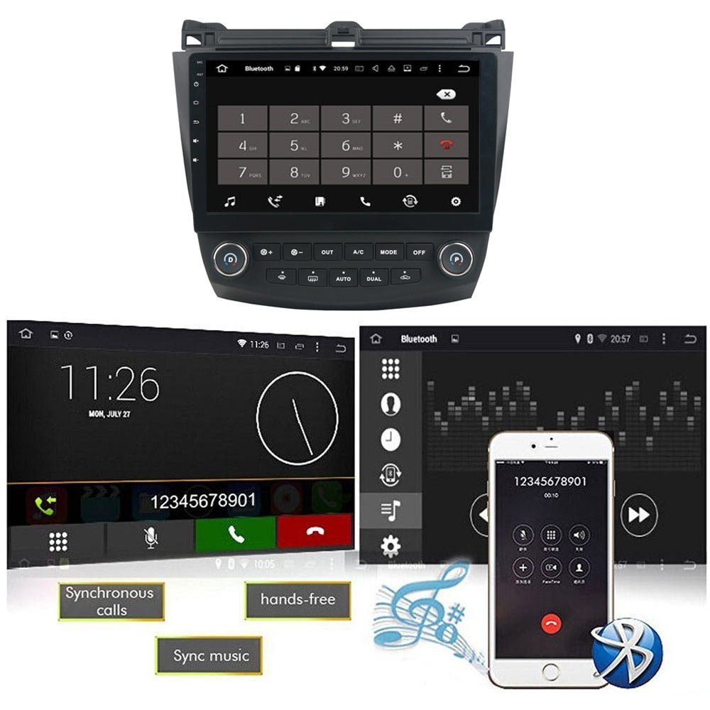 Android 60 7th 20032007 Honda Accord Dual Zone 101 Inch Indash Car Head Unit 2003 2007 Stereo Radio Gps Navigation System With Bluetooth Usb Steering Wheel