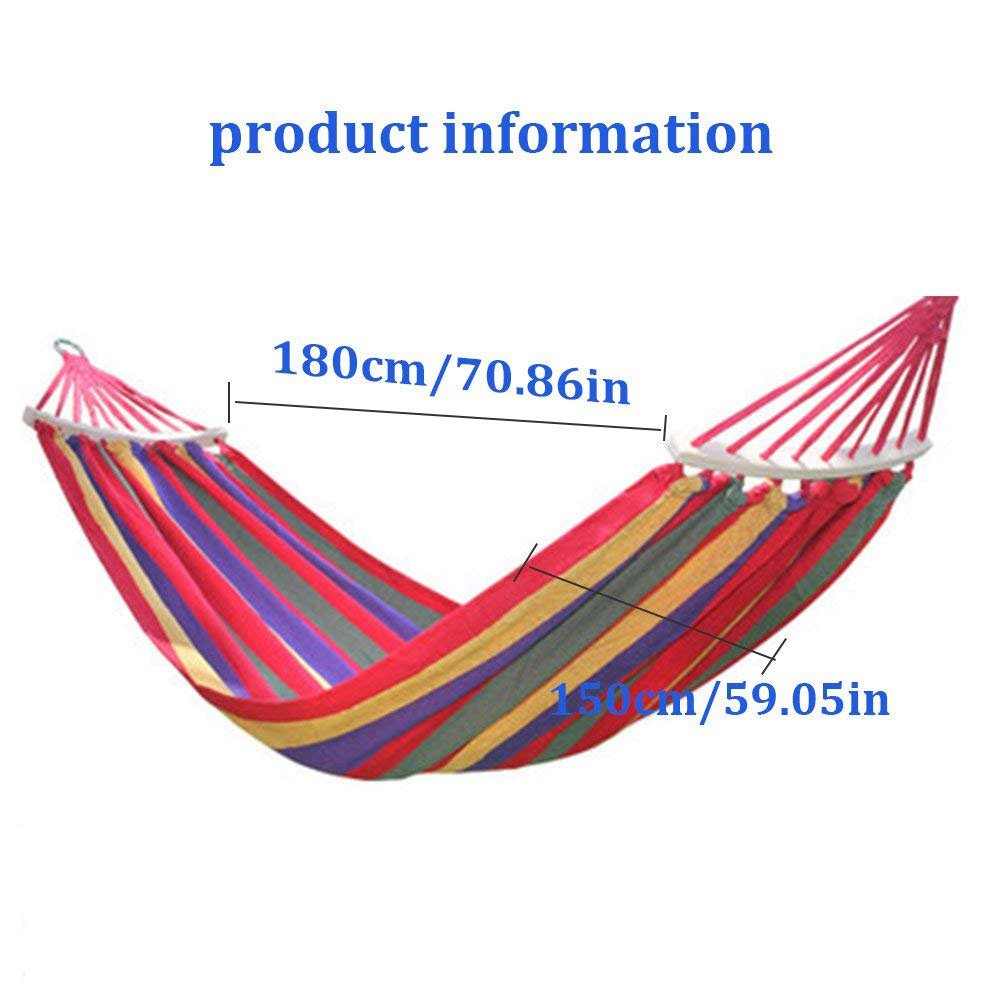 Rusee Double 2 Person Cotton Fabric Canvas Travel Hammocks 450lbs Ultralight Camping Hammock Portable Beach Swing Bed with Hardwood Spreader Bar Tree Hanging Suspended Outdoor Indoor Bed FBA/_RU-CH0506