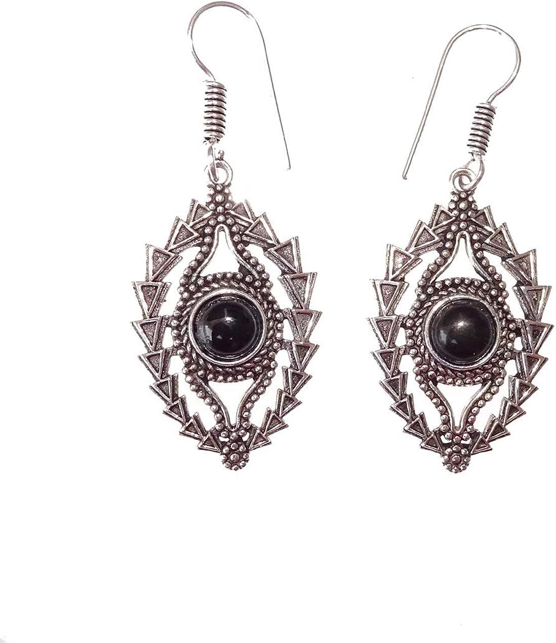 Pendientes elegantes tribales étnicos para mujeres niñas hechos a mano genuinos piedras preciosas de ónix negro plateado plata oxidada cuelgan pendientes colgantes de India Jewel Store