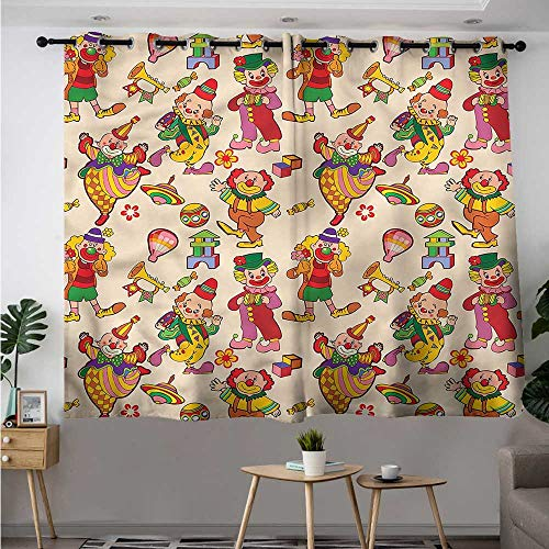 - Fbdace Circus Waterproof Window Curtains Comedian Musical Clowns Kids Grommet Curtains for Bedroom W 72