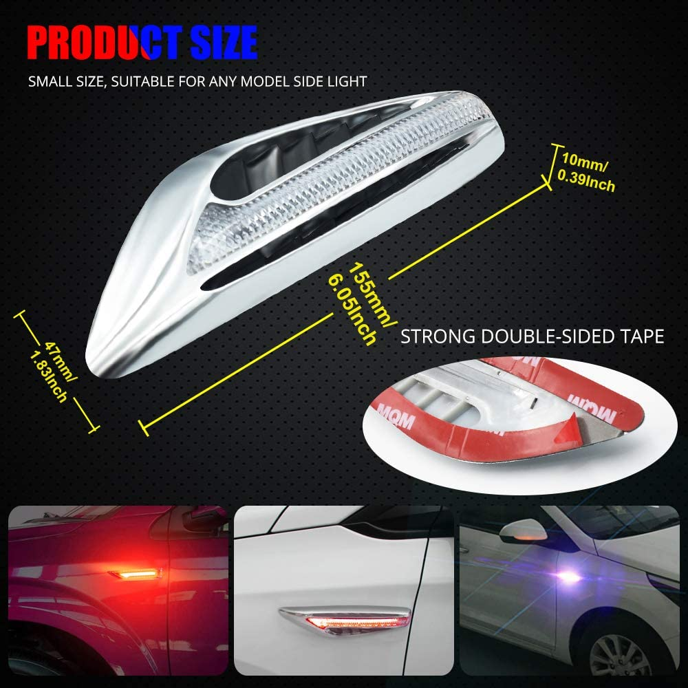 Blade Shape LED Side Marker Light Double Colors Driving Light White /& Turn Signal Light Yellow//Amber Replacement Lights for BMW Buick motorcycle.2-Pack.White-Amber.