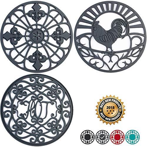 Silicone Trivet Set For Hot Dishes | Modern Kitchen Hot Pads For Pots & Pans | Country Decor Designs Mimics Vintage Cast Iron Trivets | 7.5