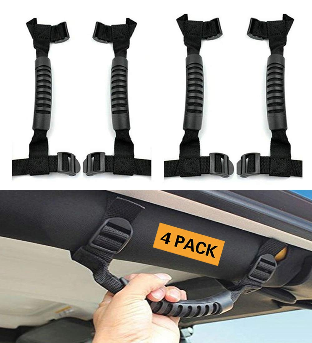 4 x Black Moveland Roll Bar Grab Handles for Jeep Wrangler Accessories YJ TJ JK JL Sports Sahara Freedom Rubicon X /& Unlimited 1987-2018 Grip Handle Jeep Wrangler Handles