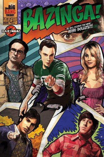 The Big Bang Theory   Tv Show Poster   Print  Comic Style   Bazinga    Size  24  X 36    Black Poster Hanger   By Poster Stop Online