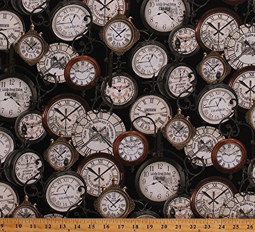 Railways Pocket - Cotton Vintage Clocks Clock Antiques Train Station Clocks Time United States Cities Railroads Railways Express Pocket Watch Black Cotton Fabric Print by the Yard (08505-12)
