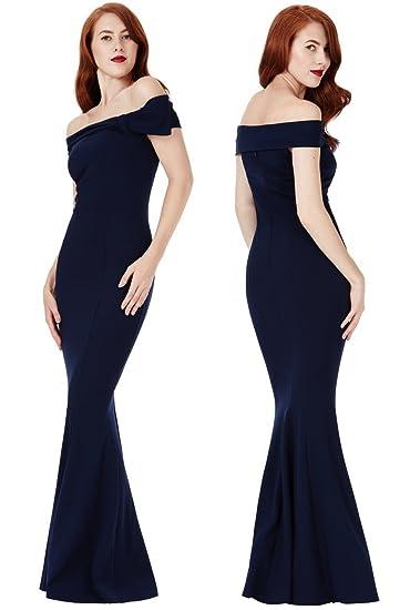 ade8af821e79 Goddiva Navy Bardot Bow Shoulder Fishtail Maxi Evening Dress Prom  Bridesmaid RRP £47 (12): Amazon.co.uk: Clothing