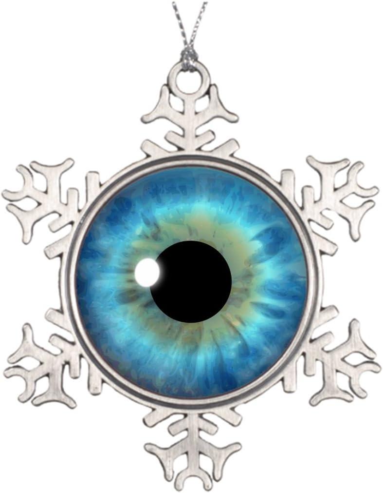 Amazon Com Kamider Xmas Trees Decorated Custom Cool Blue Eye Iris Eyeball Fun Beautiful Christmas Snowflake Ornaments Badge Store Kitchen Dining