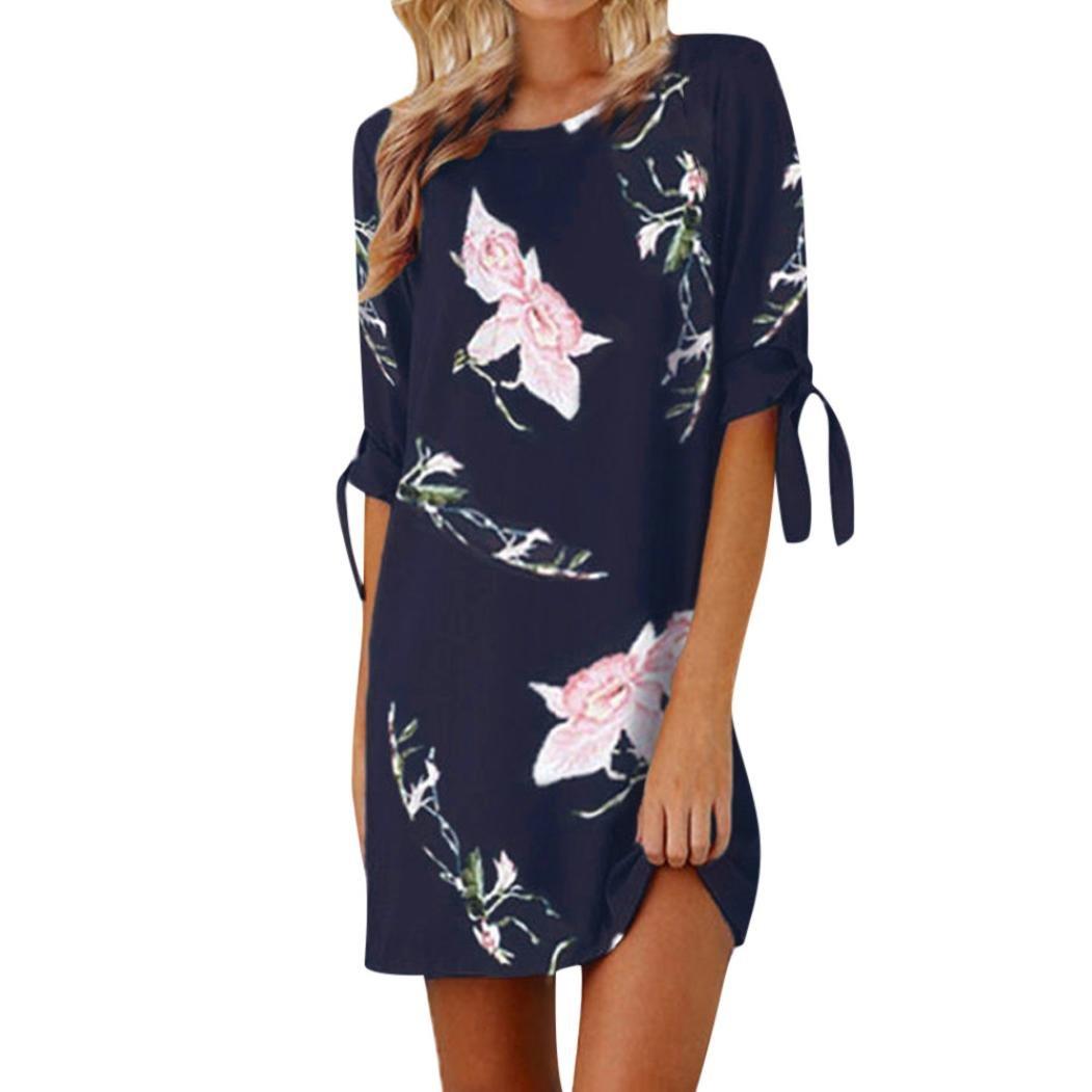 Luckylin Women's Summer Floral Print Tie Half Sleeve Loose Short Mini Dress Round Neck Sundress