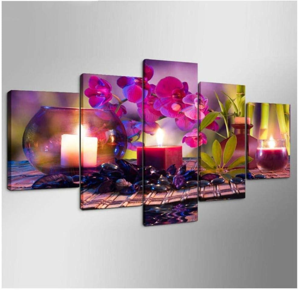 5 Pcs 5D Dut Plein Forage Diamant Peinture Floral Broderie Fleur Point De Croix Kits Mosaïque Multi-Picture Combinaison Décor À La Maison,20X30cmx2 20X40cmx2 20X50cmx1