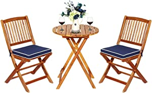 Tangkula 3 PCS Patio Folding Bistro Set, Outdoor Acacia Wood Chair and Table Set w/Padded Cushion& Round Coffee Table, Ideal for Indoor Patio Poolside Garden (Navy Blue)