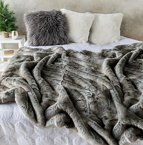Lynx Throw - Soft Throw Luxury Faux Fur Oversized Throw Blanket with Plush Velvet Reverse, Fox Lynx or Gray Mink (Ombre)