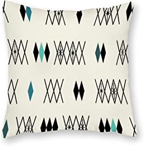 Retro Atomic Era Diamonds Pattern Turquoise Cotton Canvas Throw Pillow Covers Case Cushion Pillowcase with Hidden Zipper Closure for Sofa Bench Bed Home Decor 16 x 16 Inches